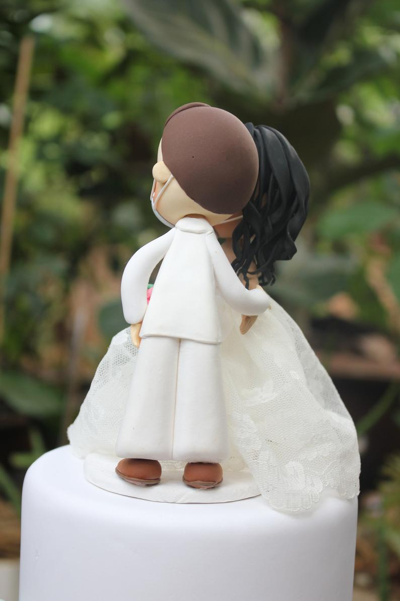 Picture of Quarantine wedding cake topper, Beautiful white wedding clay figurine