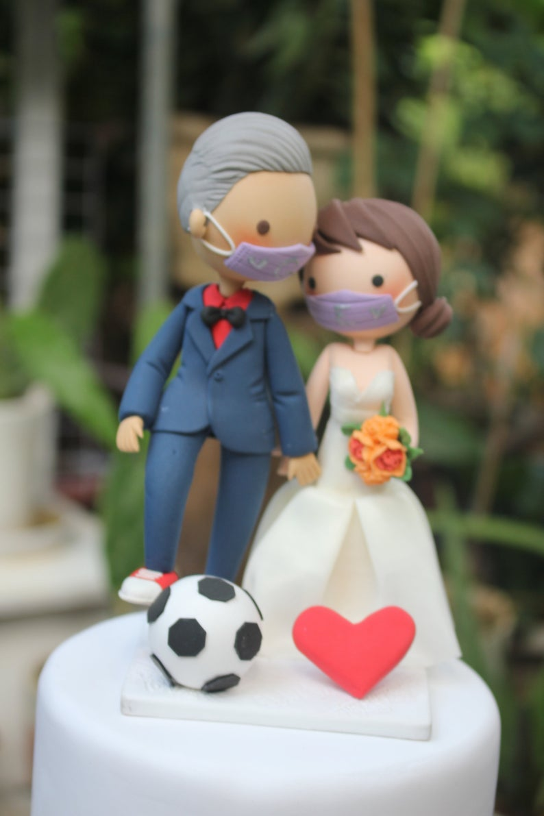 Picture of Quarantine wedding cake topper, Soccer fan wedding cake topper