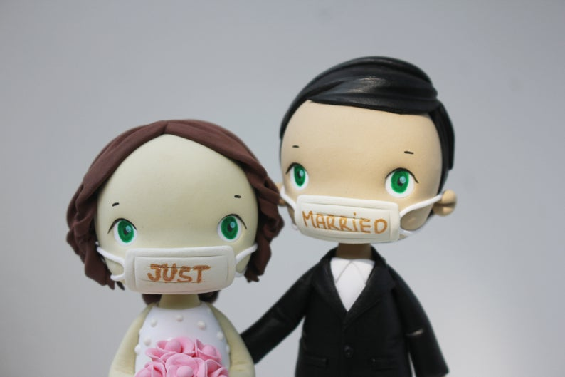 Picture of Bride and Groom with mask cake topper, Quarantine wedding cake topper