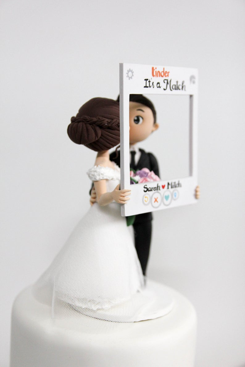 Picture of Tinder wedding cake topper, Love at first swipe wedding topper