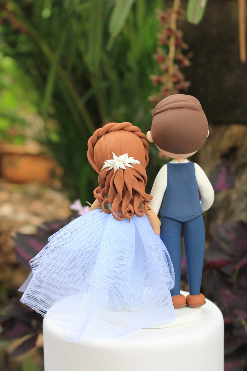 Picture of Rustic wedding cake topper, Beautiful blue Bride & Groom cake topper