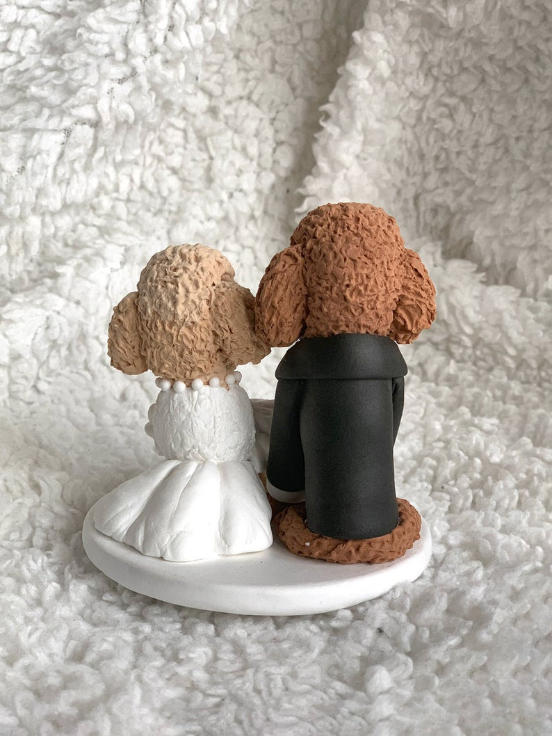 Picture of Poodle wedding cake topper, Pet wedding clay figurine realistic style
