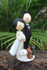 Picture of Wedding cake topper with pet, Sexy split wedding dress clay figurine