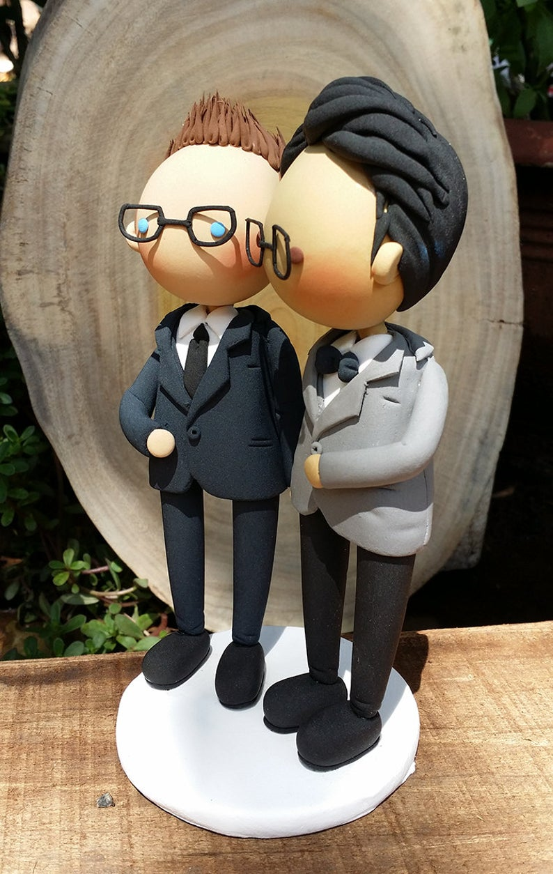 Picture of Gay wedding cake topper, Nerdy wedding cake topper
