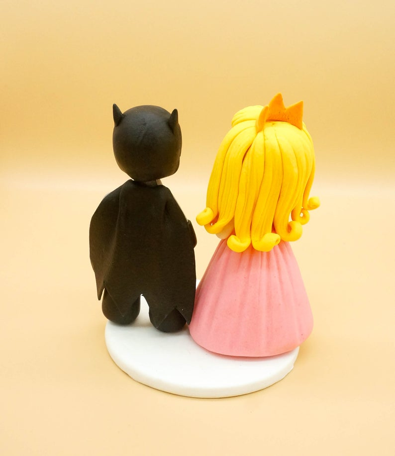 Picture of Batman and Princess Peach wedding cake topper